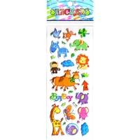 animaux afrique girafe singe bebes gommette sticker enfant pedagogique emb JF1358