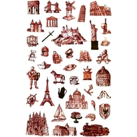 40 Stickers vintage Monuments et Emblèmes du Monde