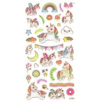 35 Stickers 3D Licornes Mignonnes