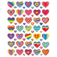 70 stickers irisés cœurs colorés