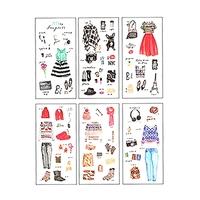 Lot  6 planches de Stickers Dressing de fille