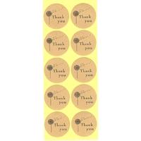 """10 étiquettes rondes dorées """"Thank You"""" Fleur"""