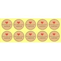 """Étiquettes rondes dorées """"Fait Main Avec Amour"""""""