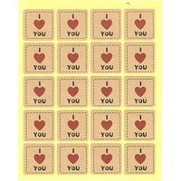 """Étiquettes dorées """"I Love You"""" cœur rouge"""