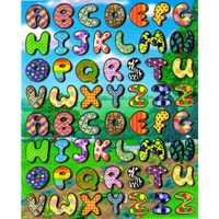 alphabet lettres originales coloree gommette autocollant sticker PVC souple mou enfant pedagogique BLF1108