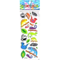insectes cameleon iguane jungle decoration scrapbooking enfant pedagogique gommette autocollante rigide emb JF 1357
