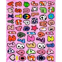 alphabet lettres et chiffres gommettes autocollant sticker mou molle souple enfant pedagogie BLF 010