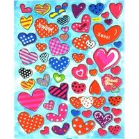 Gommette autocollante Coeurs Multicolores