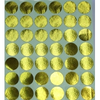 30 Gommettes rondes métallisées Or 19mm