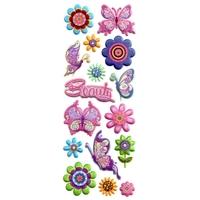 Gommettes à Paillettes Papillons et Fleurs Beauty 22x9cm 3D