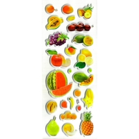 fruits pedagogie enfant apprentissage gommette sticker autocollant adhesive rigide JF1344