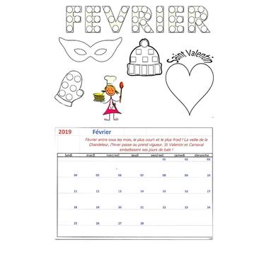 LOT Bricolage Calendrier mensuel Février