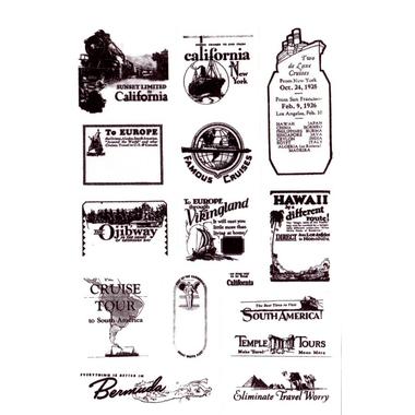 Scrapbooking Timbres Retro Noir et Blanch California