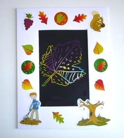 Blog tableau automne enfant feuille gratter 5