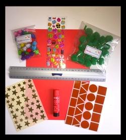 materiel bricolage de noel pompon et stickers