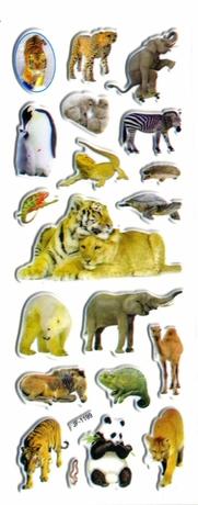 animaux zoo elephant lion pinguoin tigre panda chameau gommette autocollant sticker enfant pedagogie JF1999