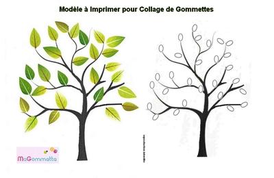 modele a imprimer gommette arbre