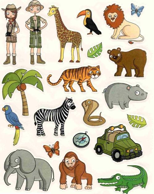 Gommettes animaux de la jungle 16x21cm magommette - Decoration animaux de la jungle ...