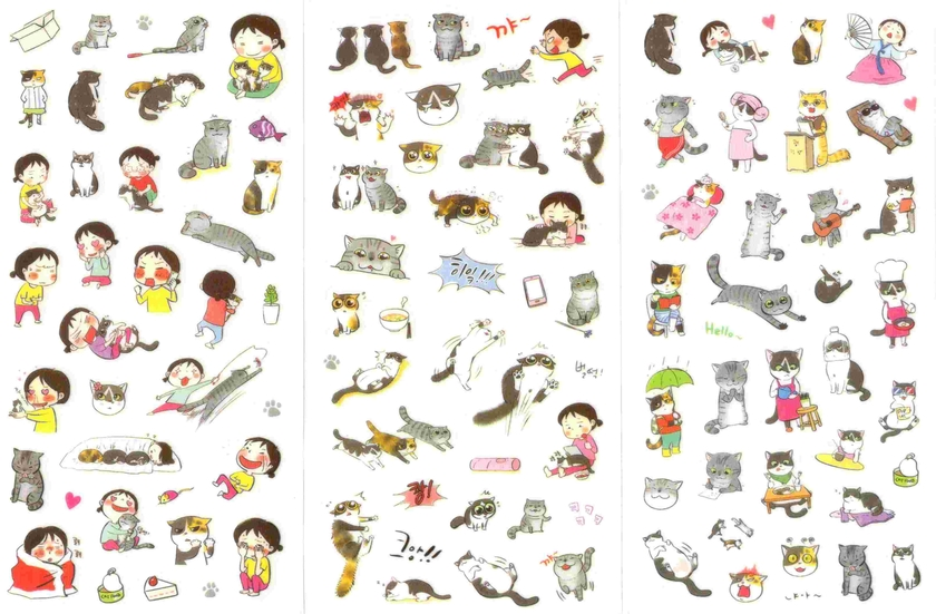 Lot de 210 stickers kawaii chats gommettes animaux magommette - Image kawaii a imprimer ...