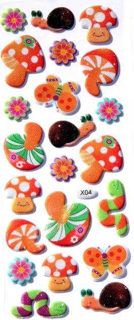 Gommettes champignons et escargots 3d cute stickers - Panier a champignon pas cher ...