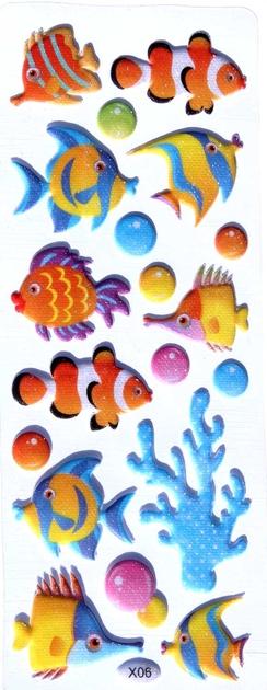 Sticker fantaisie poisson paillette 3d gommettes enfants for Paillette poisson