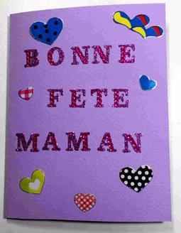 Carte Bonne fete maman avec gommettes
