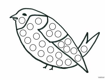 Activite collage gommette oiseau