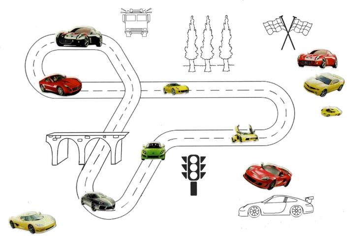 modele circuit voitures a imprimer gommettes