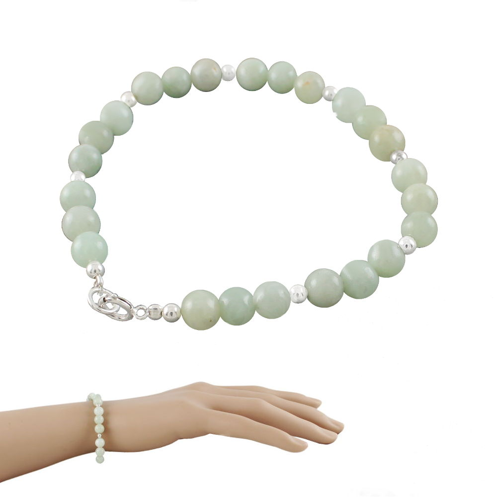 4bca2448f2 Bracelet jade vert océan & argent 925, boules 6mm - 18cm