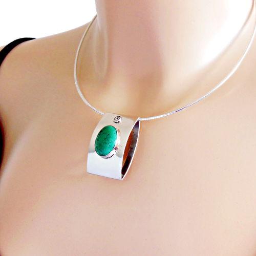 bijou moderne argent turquoise