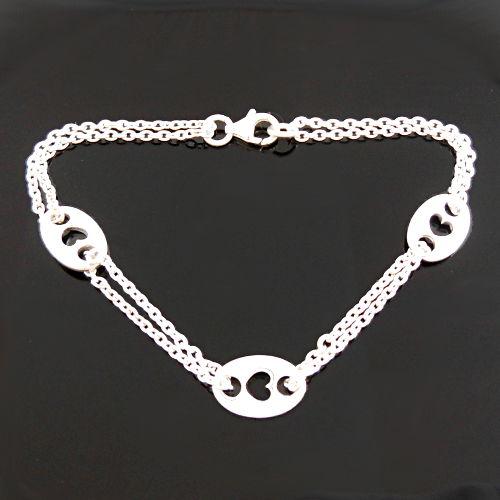 Bijoux Murat Argent 925 : Bracelet coeurs grains de caf? en argent double cha?ne