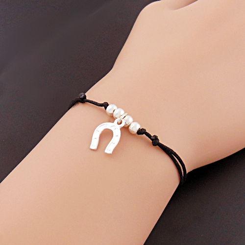 Bijoux Murat Argent 925 : Bracelet fer ? cheval en argent pampille sur cordon noir