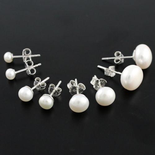 boucles perles d 39 eau douce blanches argent 4 6 8mm ou 1cm. Black Bedroom Furniture Sets. Home Design Ideas