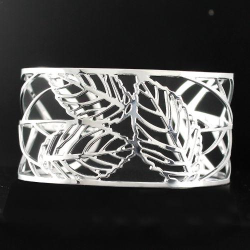 bracelet argent massif manchette motifs feuilles bijou murat. Black Bedroom Furniture Sets. Home Design Ideas