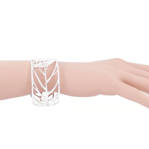 Bijoux Murat Argent 925 : Bracelet manchette feuilles en argent bijou murat