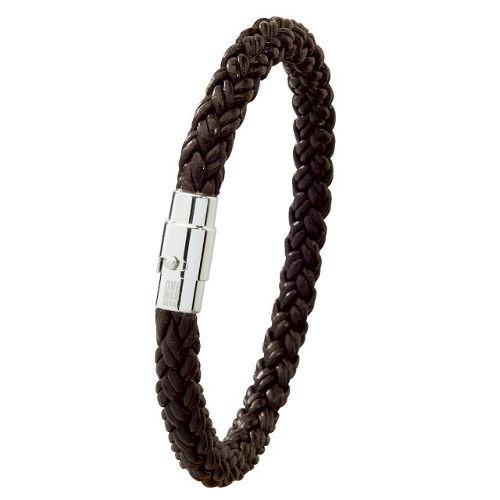 bracelet cuir tress noir fermoir acier bijou laval. Black Bedroom Furniture Sets. Home Design Ideas