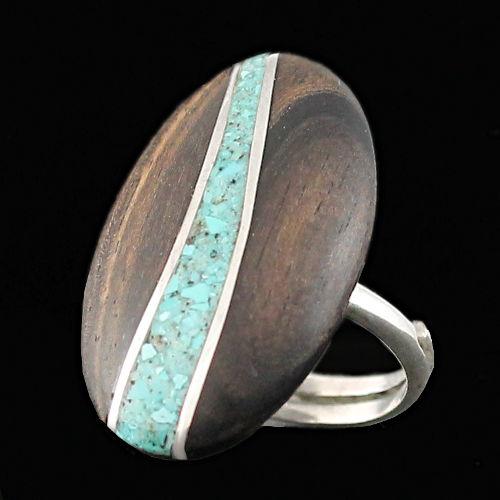 Bague turquoise, bois& argent, T 55, bijou Claude DASQUE # Bijoux En Bois Pour Femme