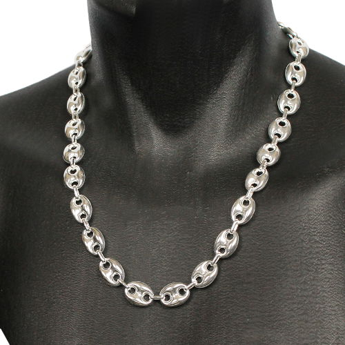 New York e9d19 d793e Collier grains de café 14x18mm - 50 à 70cm ! argent 925 + rhôdié (50-70g)
