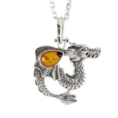 827b1574f Pendentif dragon ambre cognac & argent, hauteur 3.6cm