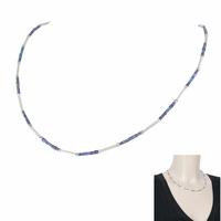Collier lapis lazuli & argent 925, réglable de 41 à 45cm