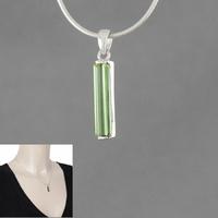 Pendentif tourmaline verte & argent 925, haut. 2.3cm