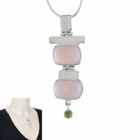 Pendentif opale rose, péridot & argent 925, hauteur 5.3cm, photo contractuelle