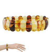 Bracelet ambre multi avec inclusions, manchette largeur 2.5cm