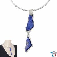 Pendentif lapis lazuli, pyrite & argent 925, hauteur totale 12cm, photo contractuelle