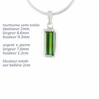 Pendentif tourmaline verte & argent 925, hauteur 2cm, photo contractuelle