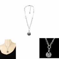 Collier onyx & argent 925 rhôdié, étoiles, coeurs et lunes, réglable jusque 45cm
