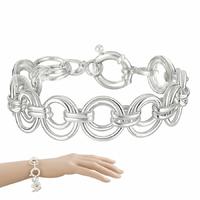 Bracelet anneaux 1.6cm en argent 925 (18g), longueur 20cm