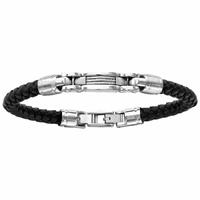 Bracelet cuir tressé noir & acier, réglable à 20 et 21cm