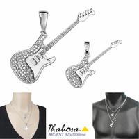 Pendentif guitare électrique argent 925 rhôdié & oxydes, 2 modèles au choix