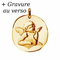 Médaille ange plaqué or 2.5cm, hauteur 3.5cm + gravure verso